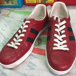 Preowned Authentic Gucci red monogram sneakers